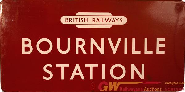 BR(M) Enamel Station Sign BOURNVILLE STATION, F/F