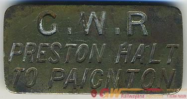 GWR Brass Cashbag Plate PRESTON HALT TO PAIGNTON.