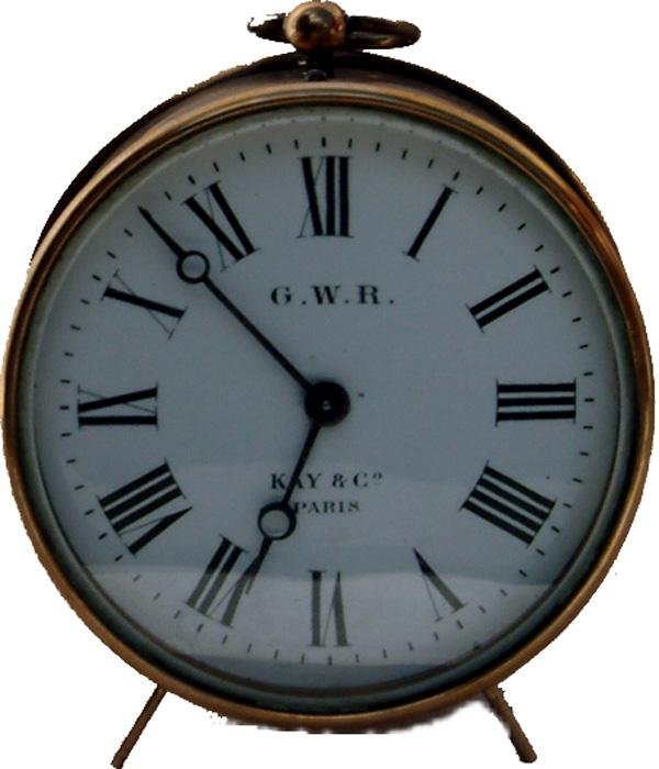 GWR Brass Drum Clock By Kays Paris. The White