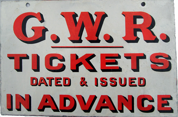 GWR Pre Grouping, Double Sided Enamel Sign 'G.W.R.