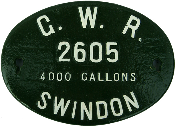 GWR Swindon C/I Oval Tenderplate Number 2605, 4000