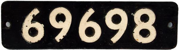 Smokebox Numberplate 69698. Ex LNER 0-6-2
