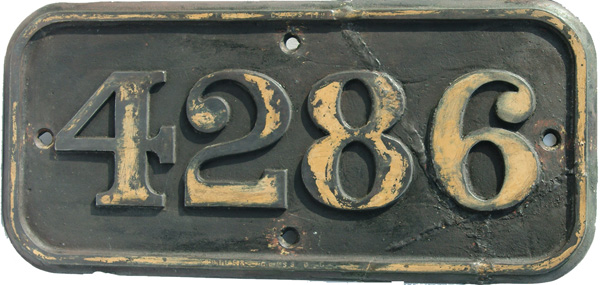 Cabside Numberplate 4286. Ex GWR 2-8-0t Built