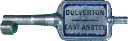 Alloy Key Token DULVERTON - EAST ANSTEY. Ex GWR