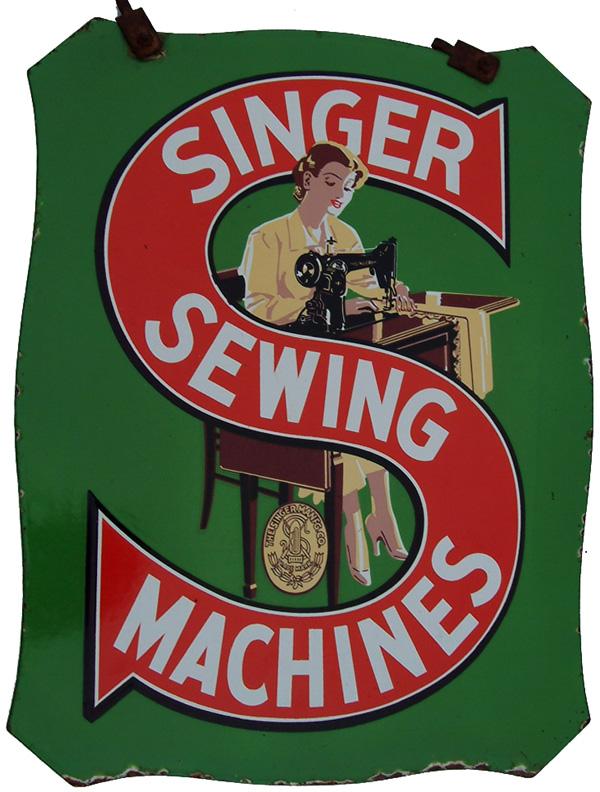 Enamel Advertising Sign Singer Sewing Machines.