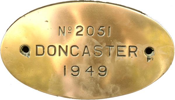 Worksplate, Engraved Oval Brass '2051 Doncaster