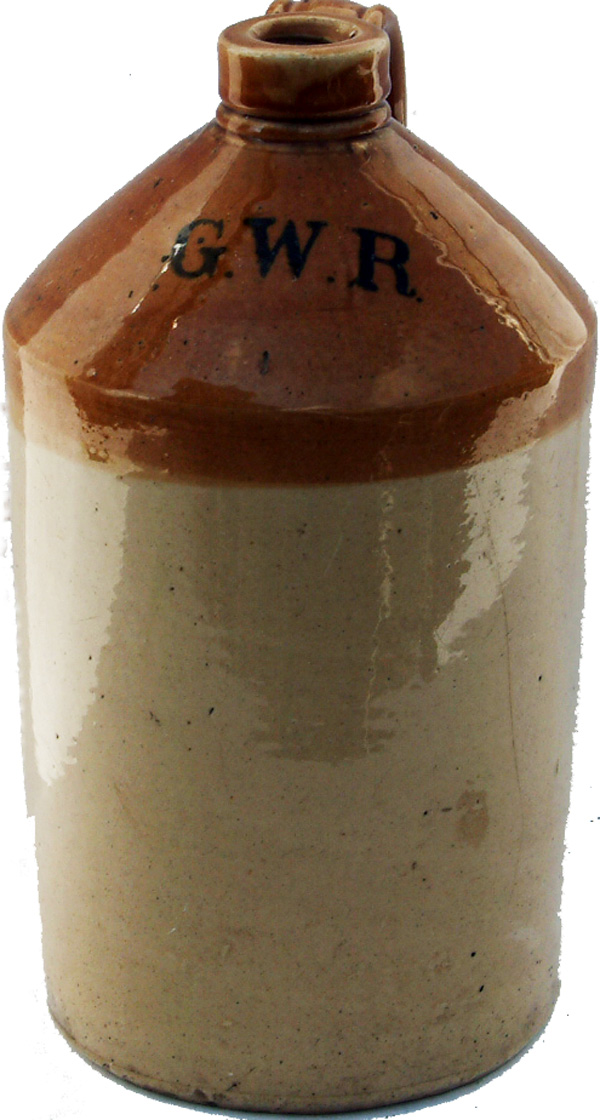 GWR 2 Gallon Stoneware Flagon With The Initials