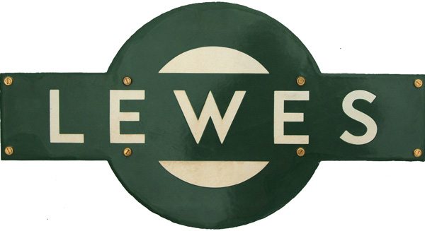 Southern Railway Enamel Target Sign LEWES. Ex