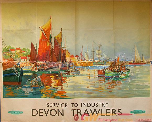 Poster, Devon Trawlers By Frank Mason (1876 -