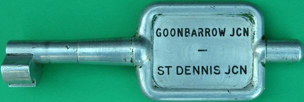 Alloy Key Token, GOONBARROW JC - ST DENNIS JCN. Ex