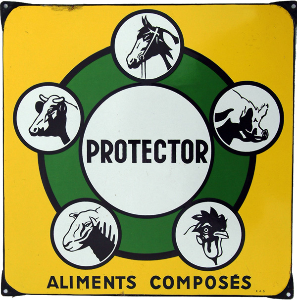 Enamel Advertising Sign, 'Protector Aliments