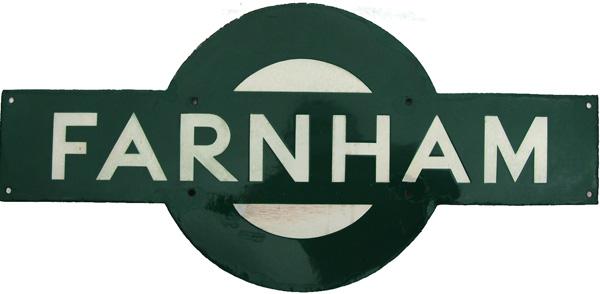 Southern Railway Enamel Target Sign FARNHAM. Ex