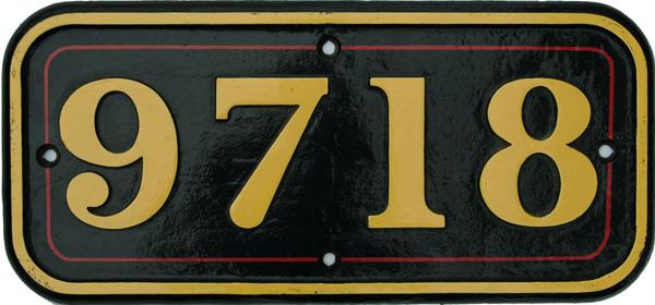 Cabside Numberplate 9718, Ex GWR 0-6-0pt Built