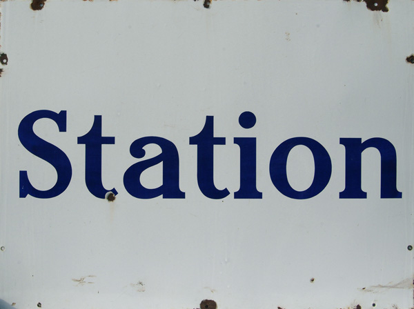 Early Enamel Sign 'Station', Light Blue Lettering