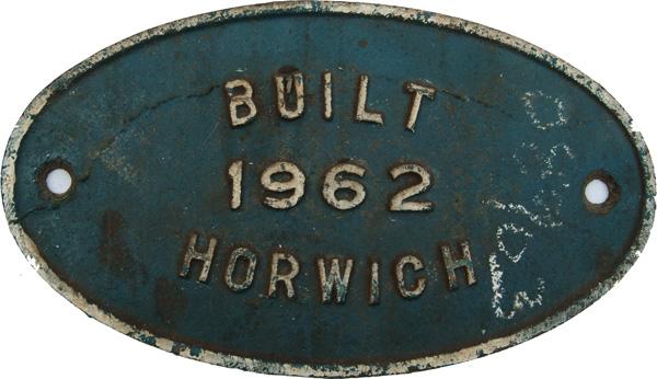 Worksplate Built Horwich 1962. Ex 08 Diesel