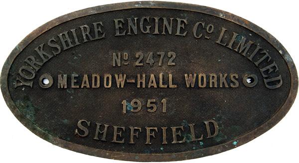 Worksplate, Yorkshire Engine Co Ltd Number 2472