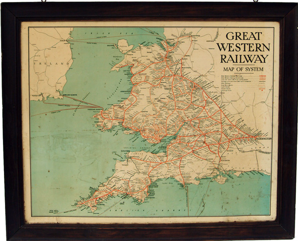 GWR Tin Map Of The System In Original Oak Frame