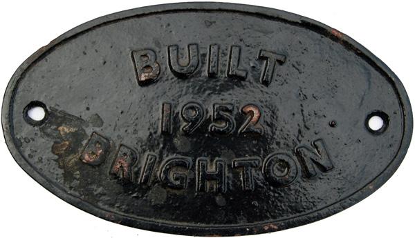 Worksplate Built Brighton 1952, Oval C/I.