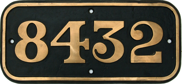 Cabside Numberplate 8432, Ex BR Contractor Built