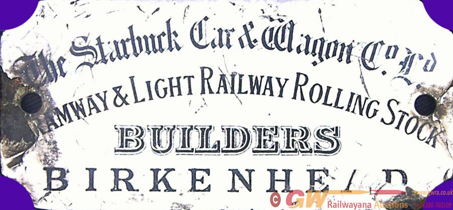 Tramway & Light Rolling Stock Enamel Makers Plate