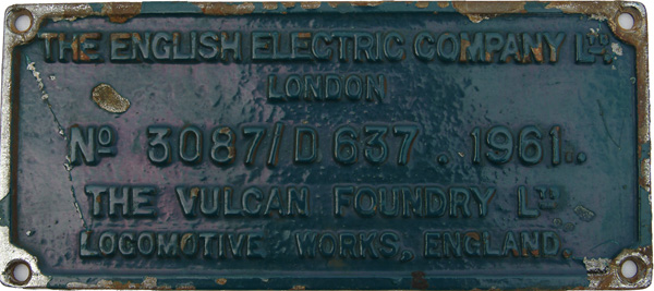 Worksplate The English Electric Company Ltd London