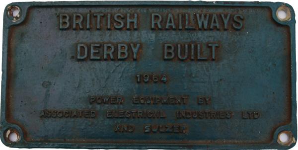 Class 25 Worksplate 'British Railways Derby Built
