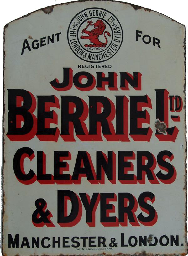 Enamel Advertising Sign' Agent For John Berrie Ltd