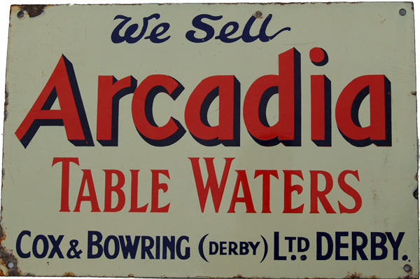Enamel Advertising Sign, 'We Sell Arcadia Table
