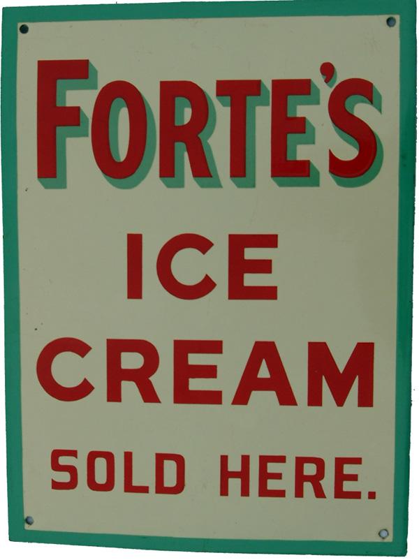 Enamel Advertising Sign, 'Forte's Ice Cream Sold