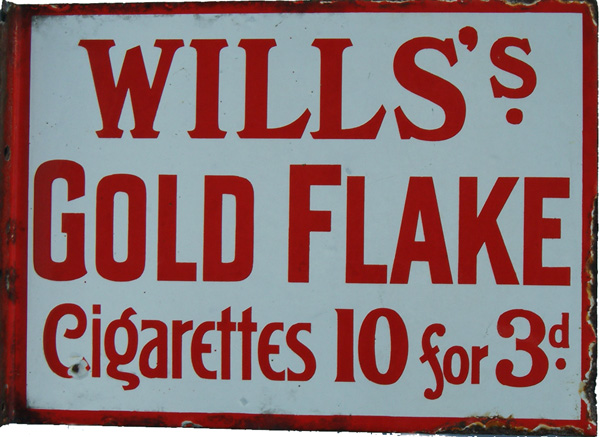 Enamel Advertising Sign, Wills Gold Flake