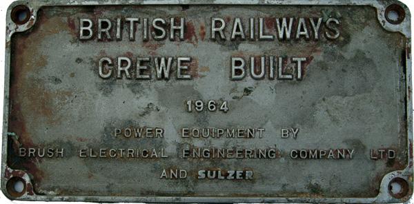 Class 47 Alloy Worksplate 'British Railways Crewe