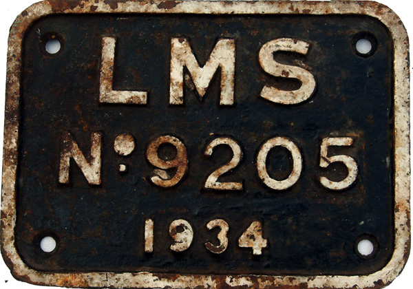 LMS C/I Tenderplate No 9205 Dated 1934. Ex Stanier