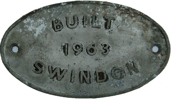 Worksplate, Built 1963 Swindon. Alloy
