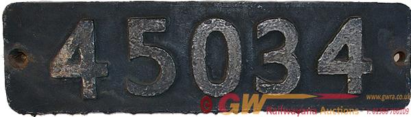 Smokebox Numberplate 45034. Ex LMS Class 5 4-6-0