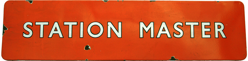 BR(NE) F/F Enamel Sign 48 X 12 STATION MASTER With