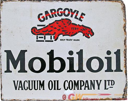 Enamel Advertising Sign For Gargoyle Mobiloil