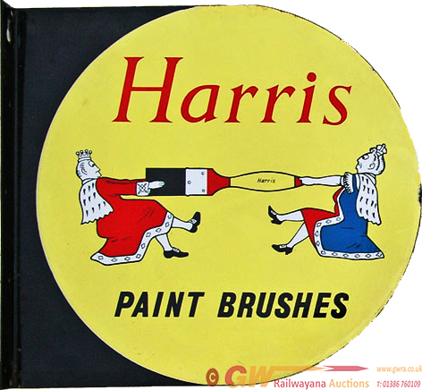 Enamel Advertising Sign For Harris Brushes. Double