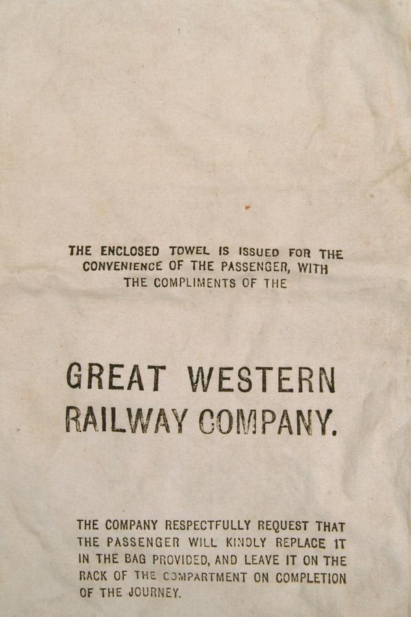 GWR Sleeping Cars Towel Bag. Fine Linen Measuring