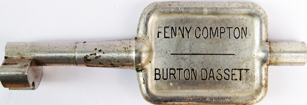 Alloy Key Token FENNY COMPTON To BURTON DASSETT.