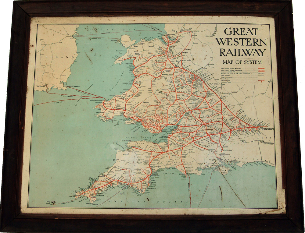 G.W.R. Tin Map Of The System, In Original Oak