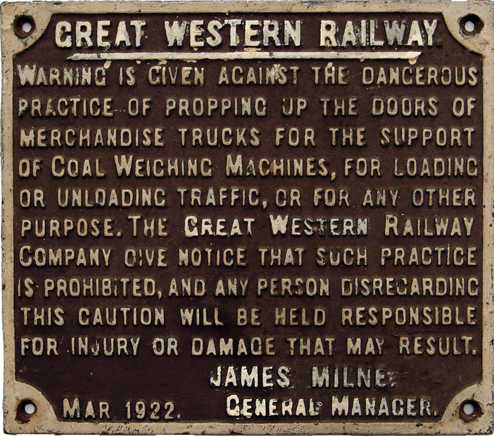 GWR C/I Propping Of Wagon Doors Sign. Original