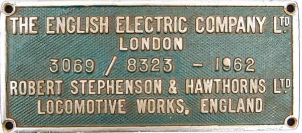 Worksplate The English Electric Company Ltd.,