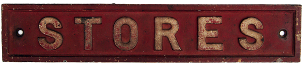 GWR C/I Doorplate STORES. Flat Border Style