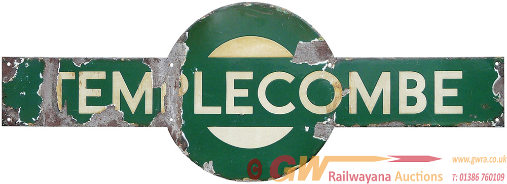 Southern Railway Target Sign TEMPLECOMBE. Ex LSWR,