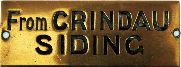 GWR Signal Box Brass Shelf Plate CRINDAU SIDINGS,