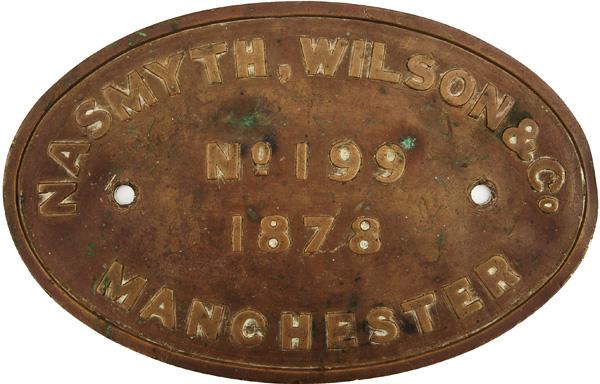Worksplate, Nasmyth Wilson Manchester Number 199