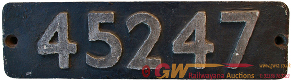 Smokebox Numberplate 45247. Ex LMS Class 5 4-6-0
