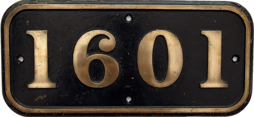 Cabside Numberplate 1601, Ex GWR Design BR