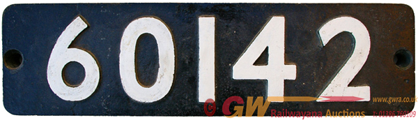 Smokebox Numberplate 60142. Ex British Railways