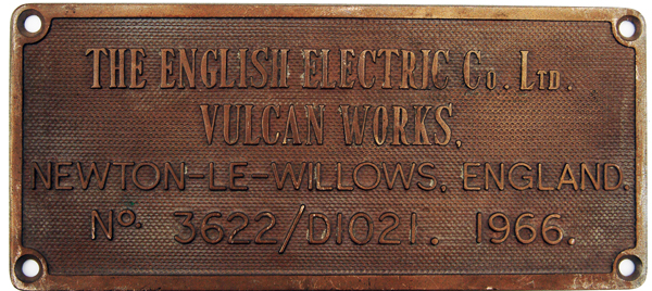 Worksplate English Electric Company Vulcan Works